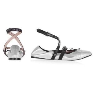 Topshop Silver Primrose Studded Ankle Wrap Flats